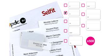 Pack de 500 Inserts pour Badge Selfit® Double Ligne, 70 x 18 mm