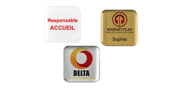 Badges nominatifs Premium Impress, 32 X 32 mm