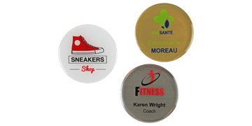 Badges nominatifs ronds Premium Impress, 50 mm