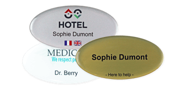 Badges nominatifs Premium Impress, 75 X 38 mm - Oval