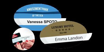 Badges réutilisables Selfit® Simple ligne, 70 x 40 mm, forme ovale