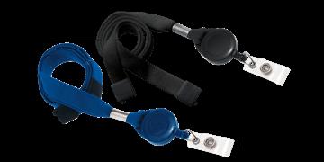 Tours de cou tubulaires 16mm avec attache anti-étranglement et enrouleur zip