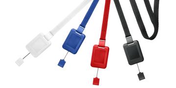 Tours de cou plats 10mm avec attache anti-étranglement et enrouleur zip détachable