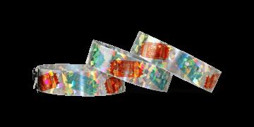 Bracelets Holographiques, 19 mm, motif métallique diamanté, avec impression digitale en couleurs