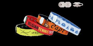 Bracelets en tissu avec fermeture bouton en vinyle à pression (St Tropez)